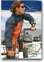 barca Karine Fauconnier sul multiscafo Sergio Tacchini alla Transat Jacques Vabre 2003