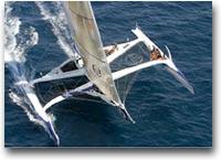 barca Karine skipper sul trimarano Sergio Tacchini al Gran Prix dei Multiscafi