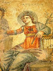 Paphos, Apollo, particolare di un mosaico