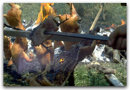 Cottura alla brace del porcellino sardo