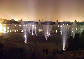 Lublino Luci di notte nella piazza Zamkowy