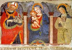 La Madonna tra san Benedetto e santa Scolastica (autore e datazione incerti), Duomo di Norcia (Foto Paolo Ferrari)