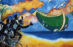 Caraibi Lo sbarco di Cristoforo Colombo sull'isola caraibica in un murales