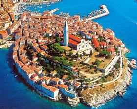 Istria La forma a conchiglia del centro di Rovigno