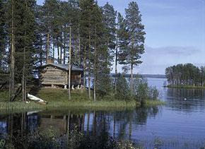 Casette di legno sull'acqua