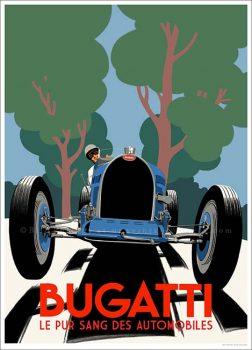 Bugatti Meeting Bugatti-Type-51-blue-poster1