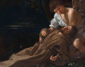Michelangelo Merisi da Caravaggio, San Francesco in estasi -  Wadsworth Atheneum Museum of Art, Hartford, CT Wadsworth Atheneum. Foto di Allen PhillipsWadsworth Atheneum